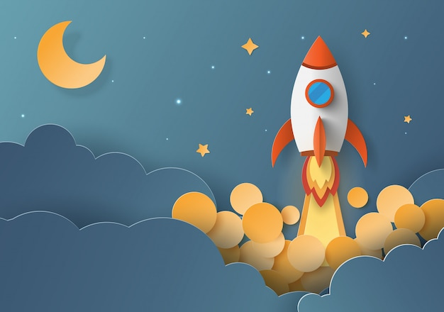 Lanzamiento de cohetes, concepto de startup business. Vector Premium