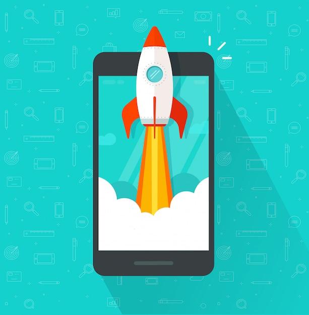 Lanzamiento o inicio de cohetes o cohetes en teléfonos móviles o celulares Vector Premium