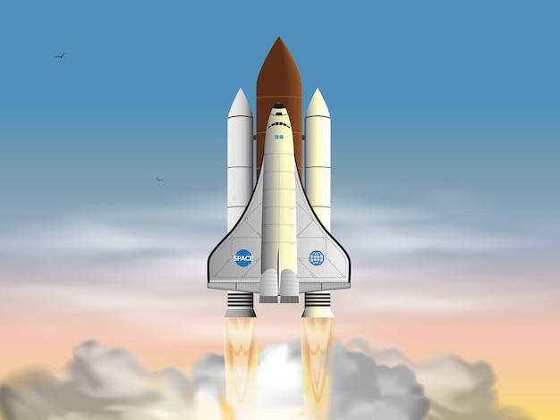 Lanzamiento del transbordador espacial en las nubes. Vector Premium