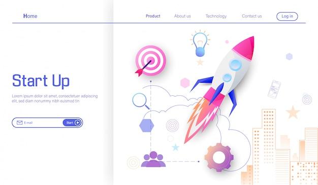 Lanzar cohete espacial para apuntar al éxito más de negocio. Vector Premium
