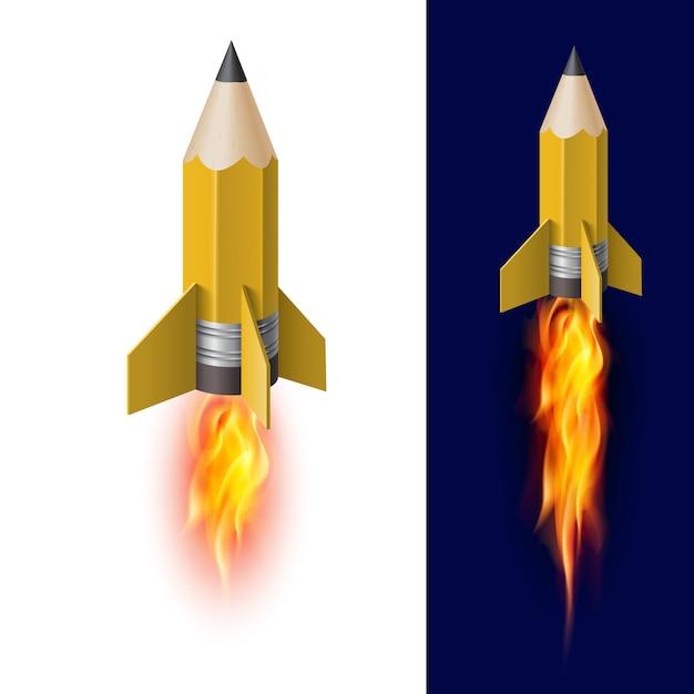 Lápiz amarillo como cohete volador Vector Premium