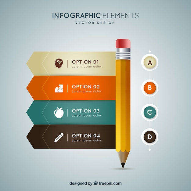 Lápiz infográfico Vector Gratis