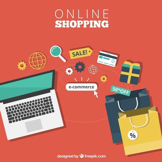 Las compras en línea Vector Gratis