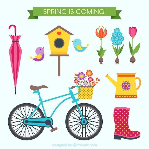 Las cosas lindas en primavera descargar vectores gratis for Casas y cosas