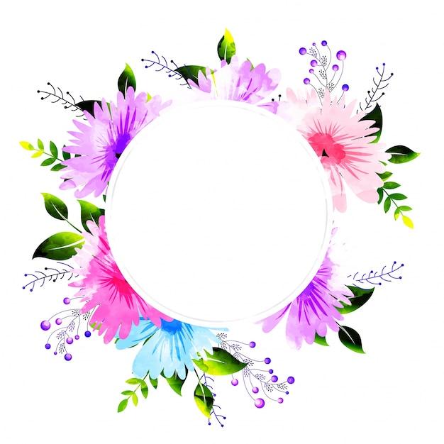 Las flores de la acuarela adornaron el marco, tarjeta de la ...