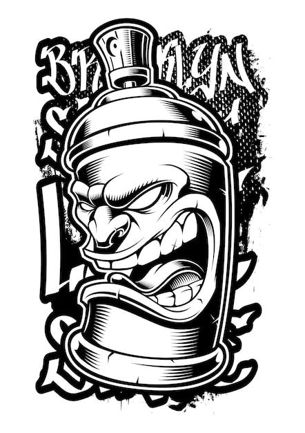 Lata de aerosol de graffiti. ilustración de arte callejero sobre fondo oscuro. Vector Premium