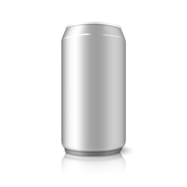 Lata de aluminio en blanco, para diferentes diseños de cerveza, alcohol, refrescos, refrescos, agua, etc. aislado sobre fondo blanco con reflejos. Vector Premium