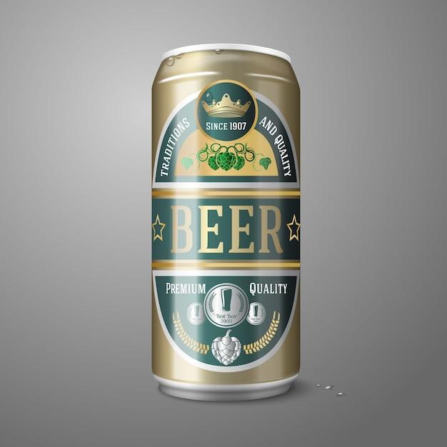 Lata de cerveza dorada con etiqueta de cerveza Vector Premium