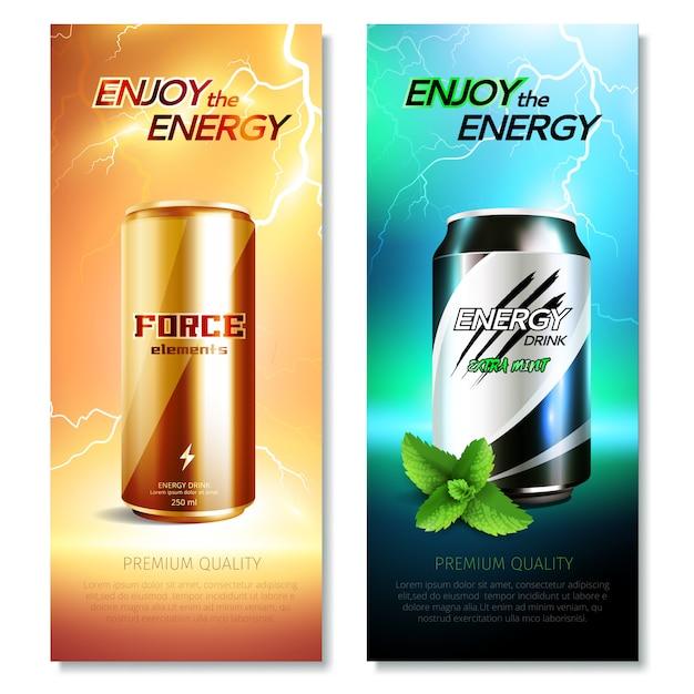 Latas de aluminio bebidas vertical banner set vector gratuito