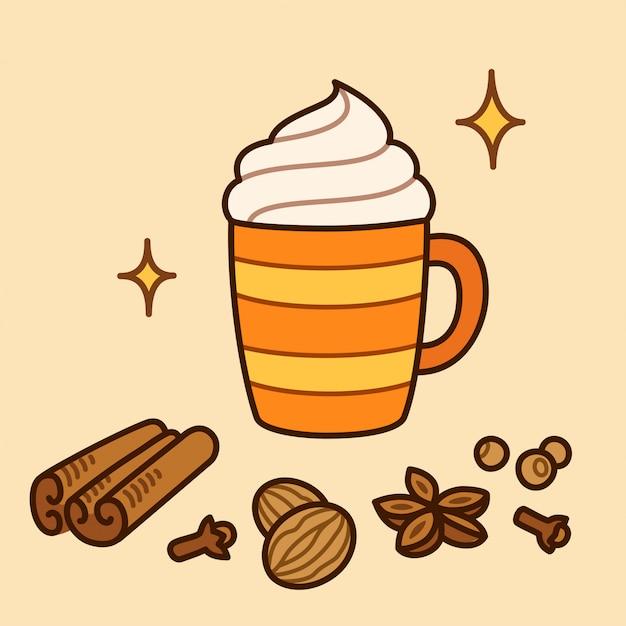Latte de calabaza y especias Vector Premium