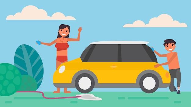 Lavado de autos aficiones del amante actividades que las parejas pasan juntas en verano, vacaciones, tiempo con sus seres queridos felicidad ningún lugar como el concepto de hogar, ilustración colorida en estilo plano de dibujos animados. Vector Premium