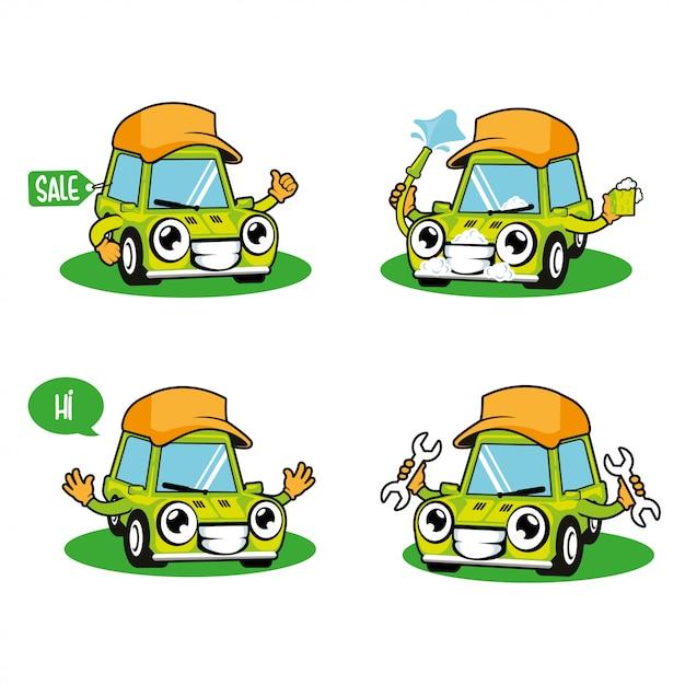 Lavado de autos, servicio de autos, venta de autos mascota de dibujos animados Vector Premium