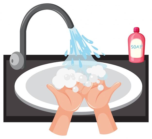 Lavado de manos en el fregadero con jabón Vector Premium