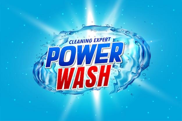 Lavado a presión de envases detergentes con salpicaduras de agua vector gratuito