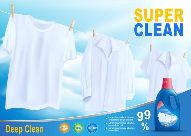 Lavado super limpio con nuevo detergente vectorial Vector Premium