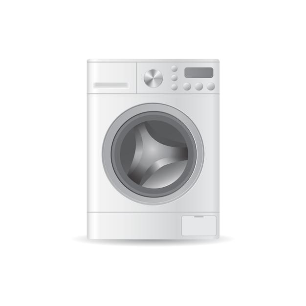 Lavadora automática realista vector vacía con ropa de carga frontal Vector Premium