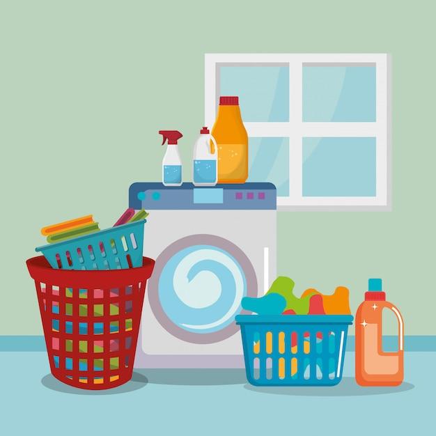 Lavadora con iconos de servicio de lavandería. vector gratuito