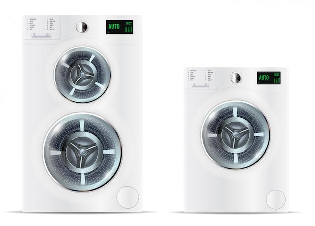 Lavadoras blancas de carga frontal Vector Premium