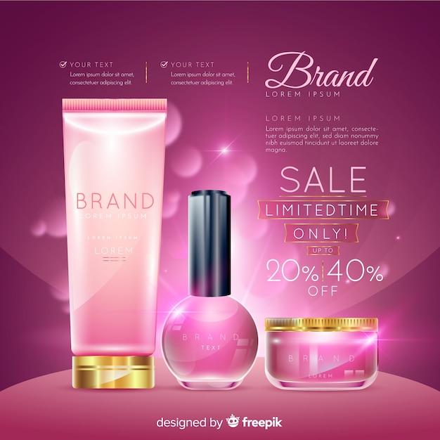Lavandería cosmética venta realista publicidad. vector gratuito