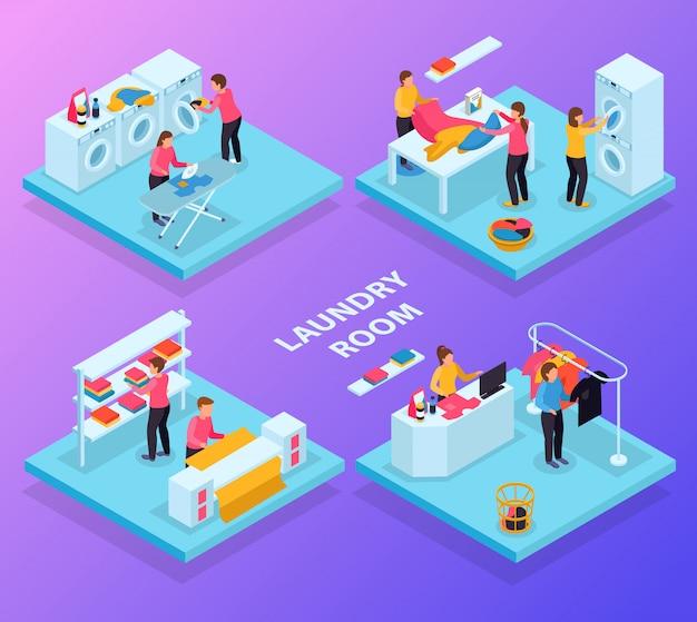 Lavandería isométrica 4x1 con diferentes salas de servicio de lavandería, ropa de texto y personajes humanos. vector gratuito