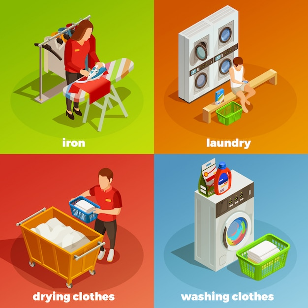 Lavandería isométrica composición de limpieza en seco vector gratuito