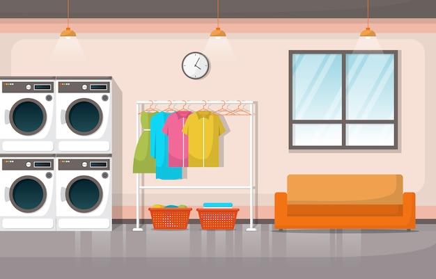 Lavandería ropa lavadora herramientas lavandería interior moderno Vector Premium