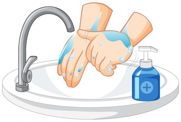 Lavarse las manos sobre fondo blanco vector gratuito