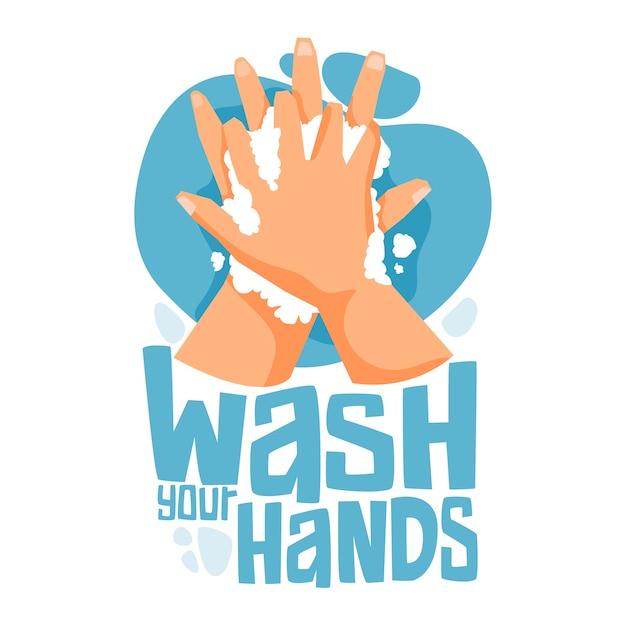 Lávate las manos con jabón y agua vector gratuito