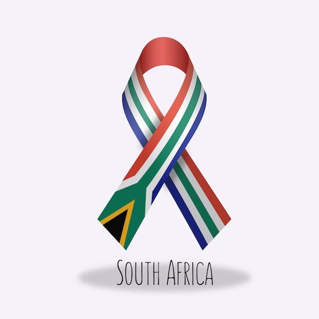 Lazo con diseño de la bandera de sudáfrica vector gratuito