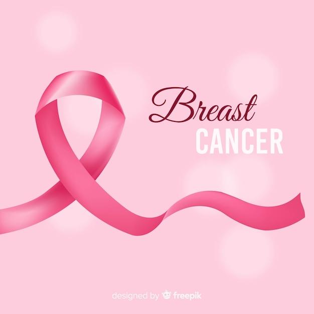 Lazo realista por el cáncer de mama vector gratuito