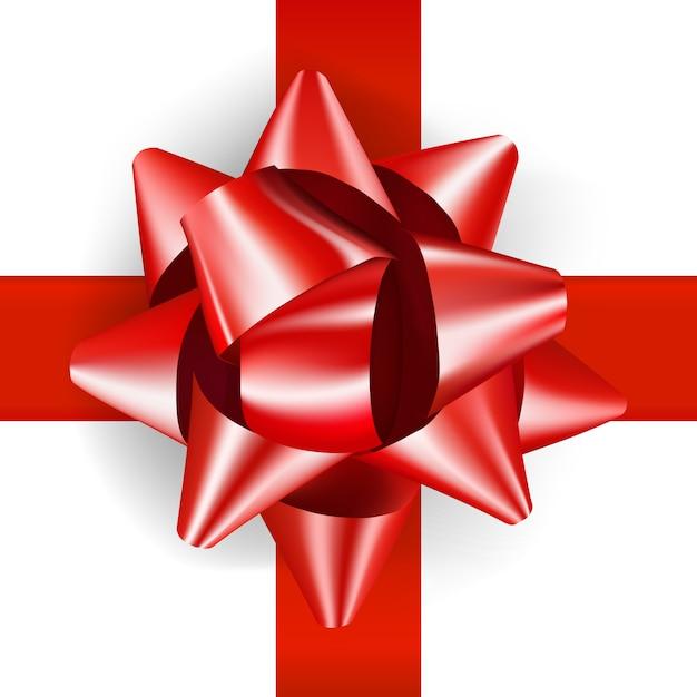 Lazo rojo de lujo para presenta un diseño realista. arco de regalo decorativo aislado en blanco Vector Premium