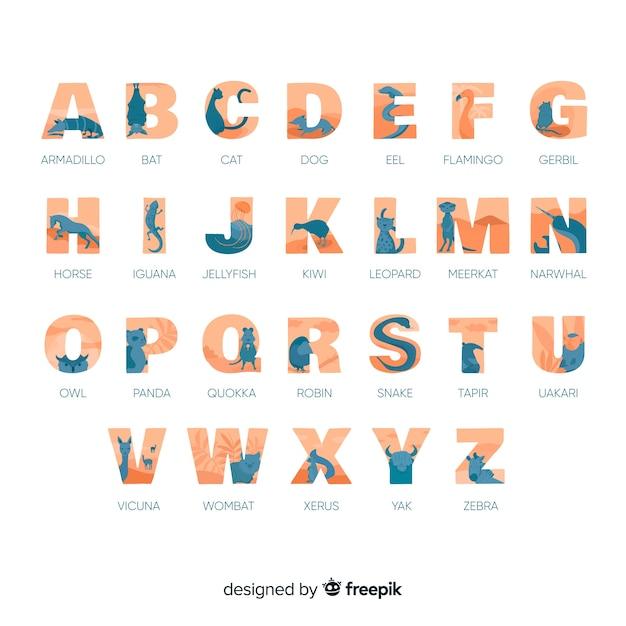 Lección alfabética con alfabeto de colección de animales vector gratuito