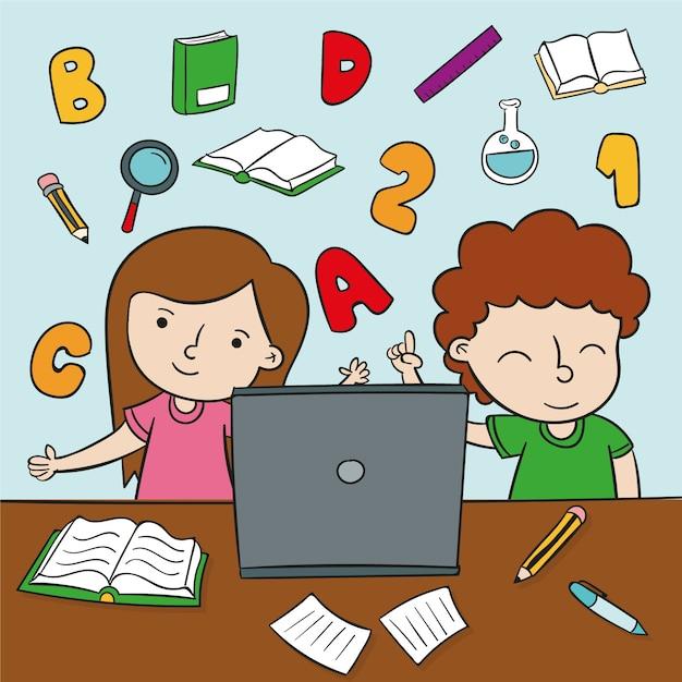 Lecciones en línea para niños vector gratuito
