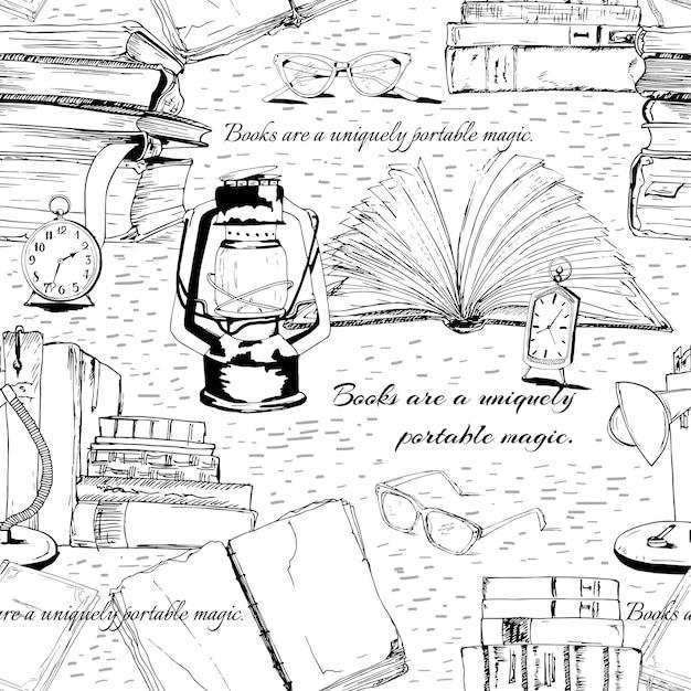 Lectura sin costuras de libros en blanco y negro. vector gratuito