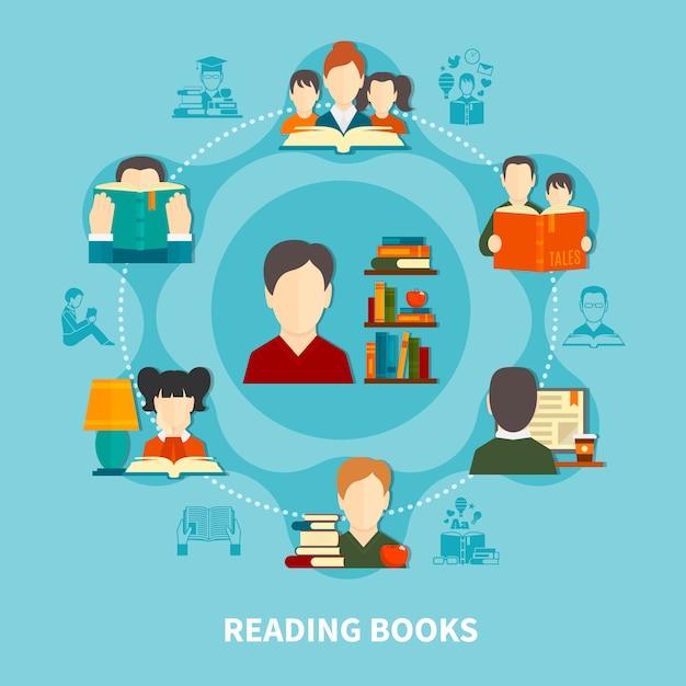 Lectura de libros de composición redonda vector gratuito