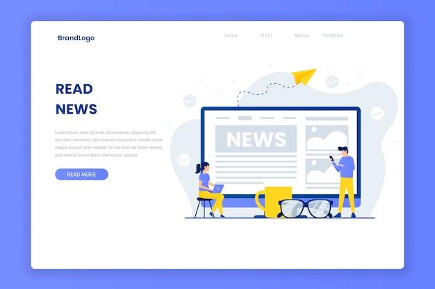 Leer plantilla de página de destino de noticias Vector Premium