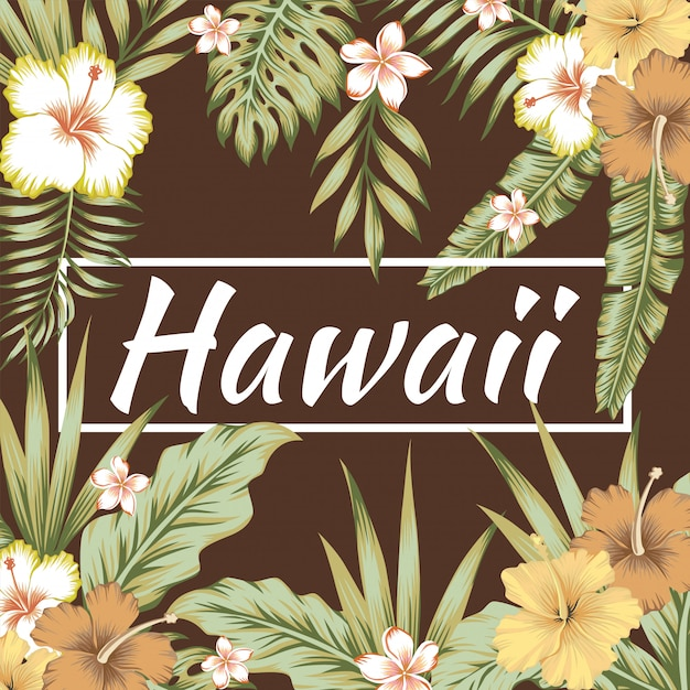 Lema de hawaii hojas tropicales hibisco fondo marrón Vector Premium
