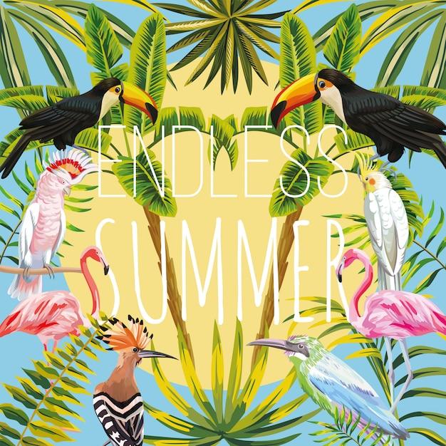 Lema interminable de verano en aves tropicales: tucán, loro, abubilla, flamencos rosados, palmas de plátano y hojas de sol cielo. vector de día de verano cálido Vector Premium