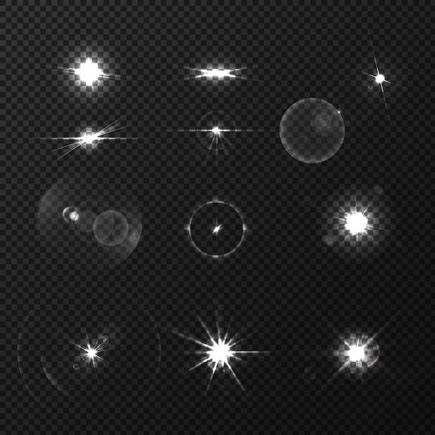 Lente blanco negro llamaradas realista conjunto aislado vector gratuito