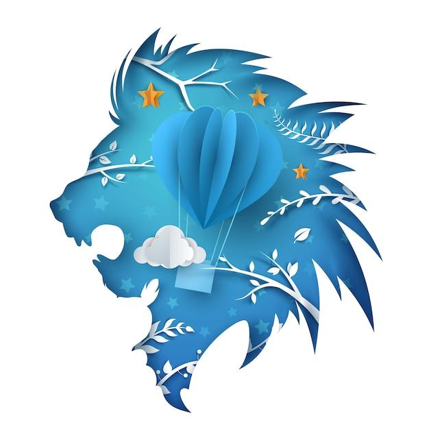 León de papel de dibujos animados. ilustración de globos aerostáticos. Vector Premium