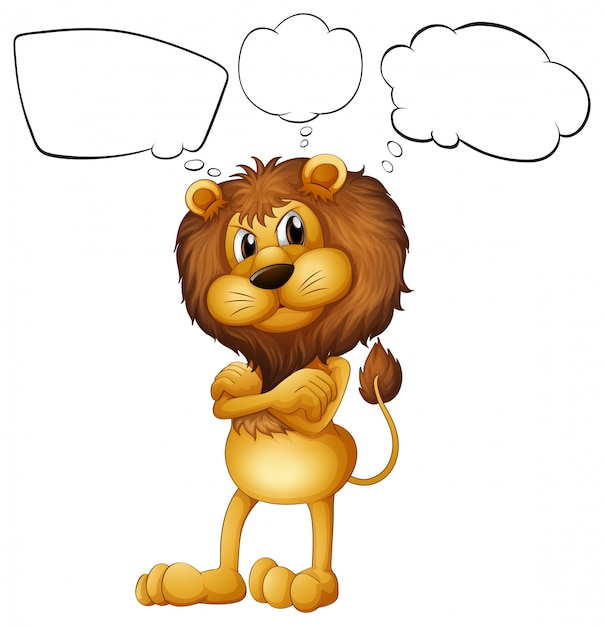 Un león con los rótulos en blanco. vector gratuito