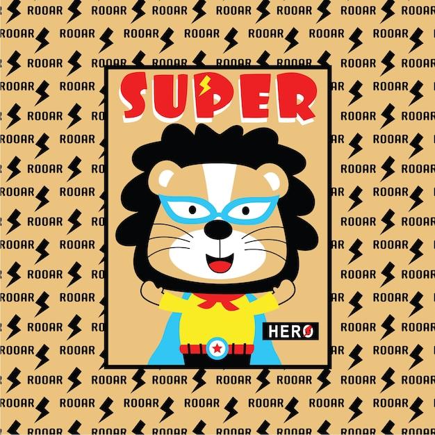 León el superhéroe Vector Premium