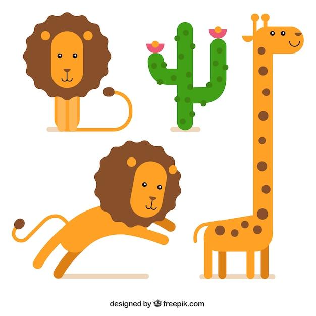 Leones y jirafa de dibujos animados vector gratuito