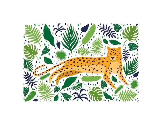 Leopardos rodeados de hojas de palmeras tropicales. Vector Premium