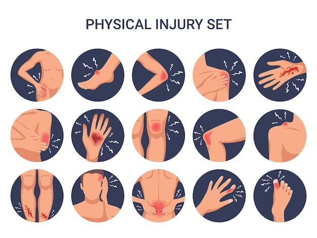 Lesiones físicas del cuerpo humano redondo conjunto plano con hombro rodilla dedo quemaduras cortadas heridas aisladas vector gratuito