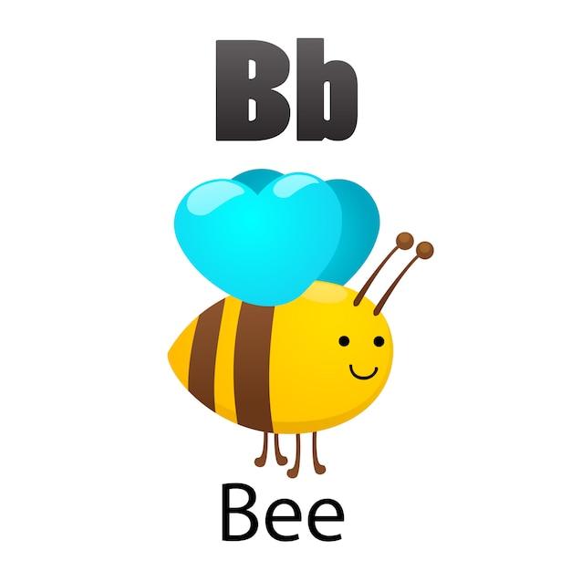 Letra del alfabeto b-bee Vector Premium