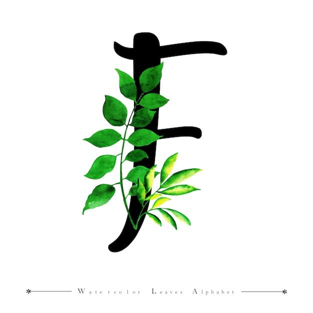 Letra de alfabeto f con fondo de hojas de acuarela | Descargar ...