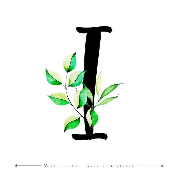 Letra del alfabeto i con fondo de hojas de acuarela | Descargar ...