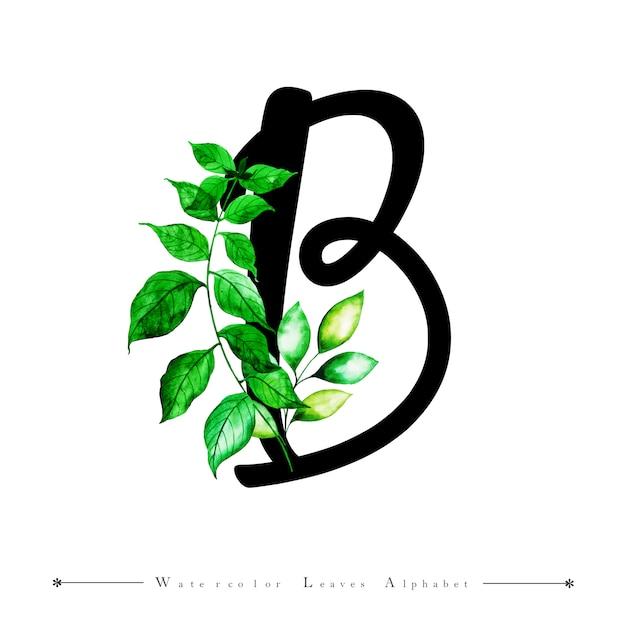 Letra b del alfabeto con fondo de hojas de acuarela | Descargar ...