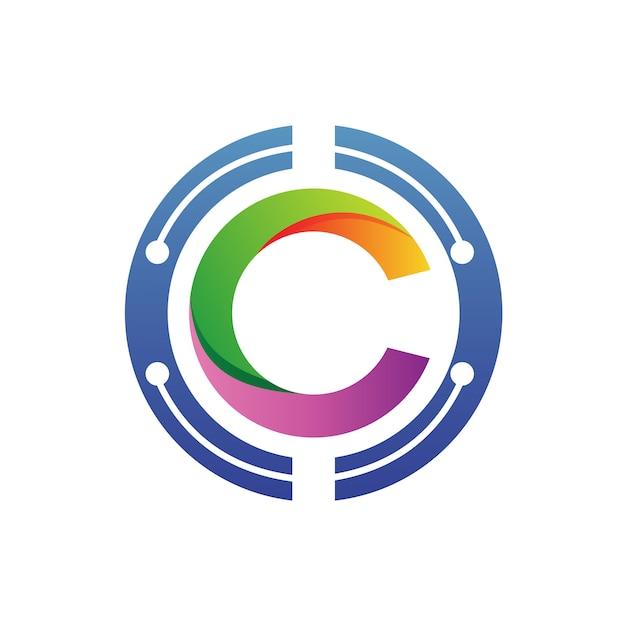 Letra c en vector logo de círculo Vector Premium
